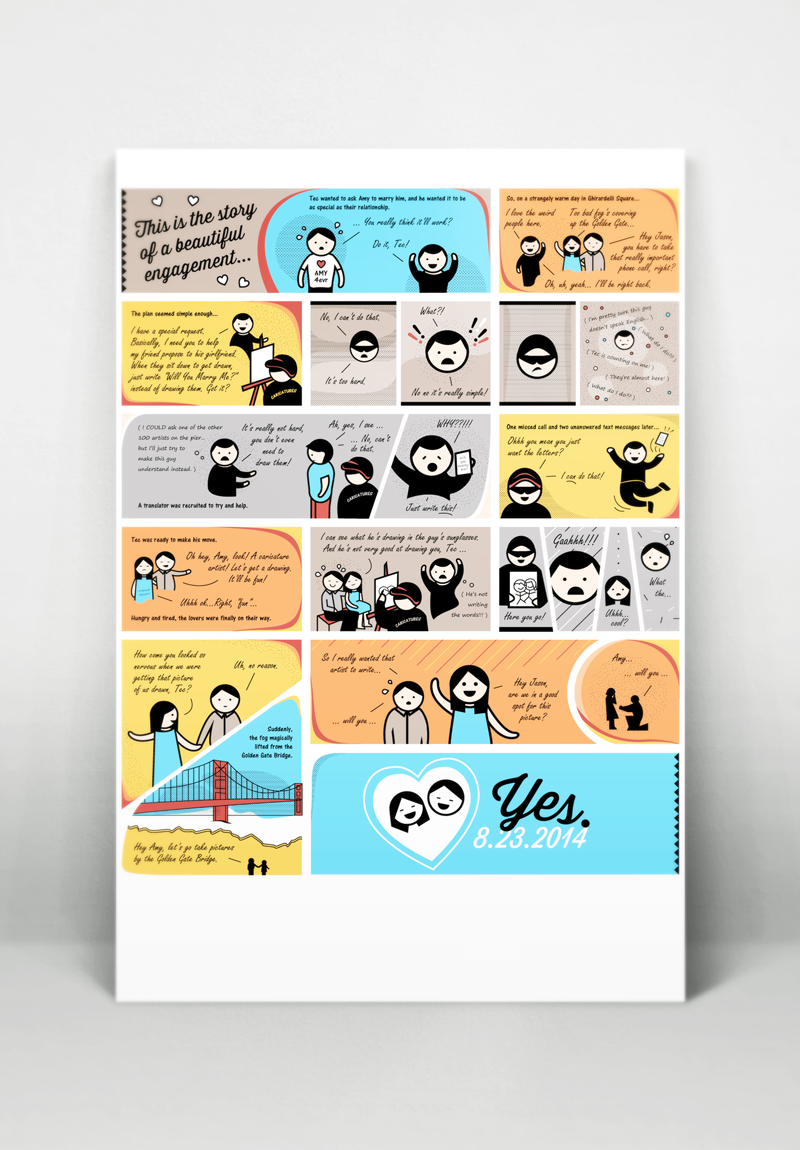 Custom Wedding Gift: Comic Engagement Story